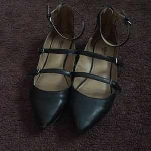 Zipper back ballet flats with straps and buckles